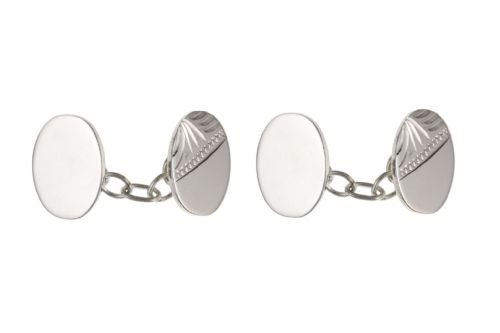 Sterling Silver Half Engraved Oval Double Chained Linked Cufflinks